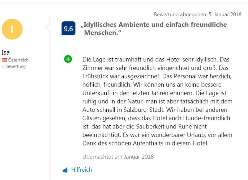Bewertung Booking com 2018